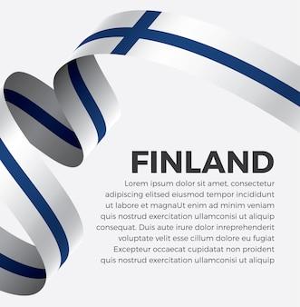 Illustrazione di vettore della bandiera del nastro della finlandia su una priorità bassa bianca vettore premium