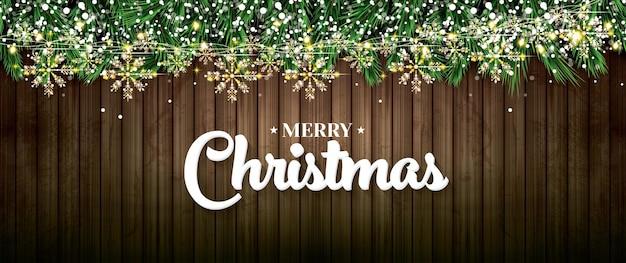 Ramo di abete con luci al neon, ghirlanda dorata con fiocchi di neve su fondo di legno. buon natale e felice anno nuovo. illustrazione di vettore.