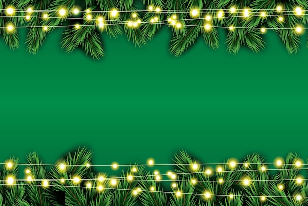 Ramo di abete con luci al neon su sfondo verde.