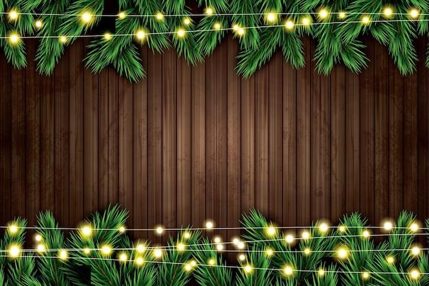 Ramo di abete con luci al neon su fondo in legno. illustrazione vettoriale.