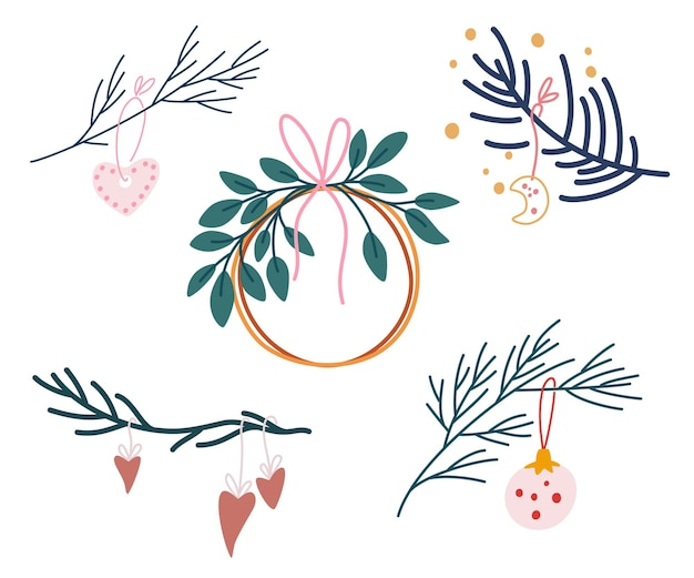 Rami di abete con decorazioni natalizie. insieme di elementi di natale. perfetto per biglietti di auguri, inviti, flayer. illustrazione di festa del fumetto di vettore.