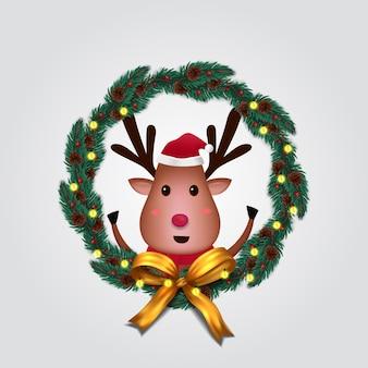 Decorazione ghirlanda di abete con simpatico personaggio di renna per buon natale e felice anno nuovo