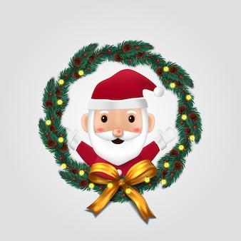 Decorazione ghirlanda di abete con simpatico personaggio di babbo natale per buon natale e felice anno nuovo