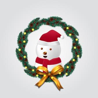 Decorazione ghirlanda di abete con simpatico pupazzo di neve per buon natale e felice anno nuovo