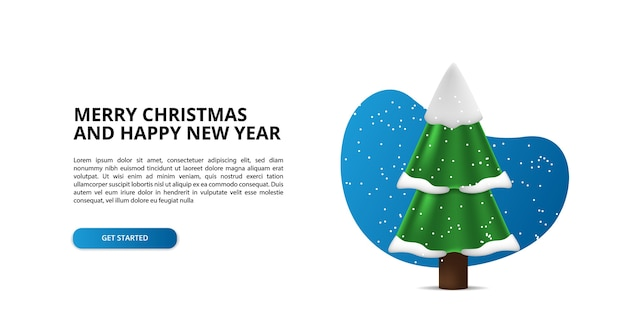 Abete e pino con l'illustrazione della neve 3d per buon natale e felice anno nuovo