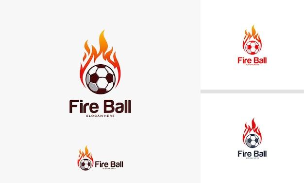 Concetto di design del logo fire ball, modello di design del logo del calcio