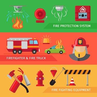 Set di banner di fuoco