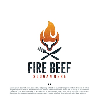 Manzo al fuoco, mucca, modello di progettazione del logo