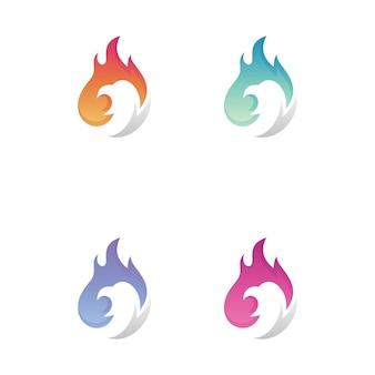 Logo fuoco e uccello con variazione di colore