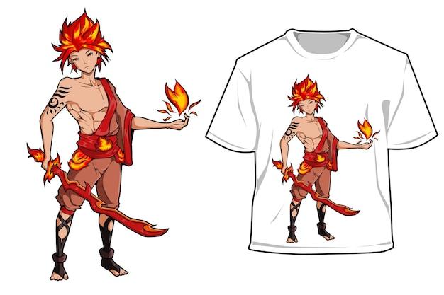 Ragazzo di fuoco con design del gioco del personaggio della spada di fuoco