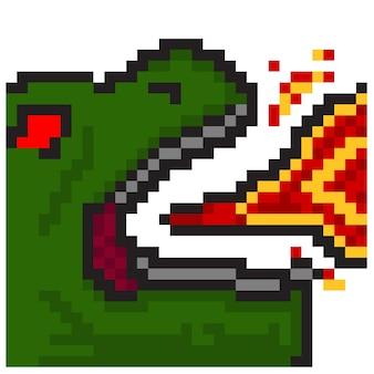 Respiro di fuoco di dinosauro con stile pixel art