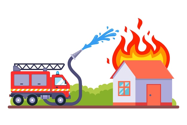 Per spegnere l'incendio sono intervenuti i vigili del fuoco. la casa in fiamme si spegne con l'acqua. illustrazione vettoriale piatto. Vettore Premium