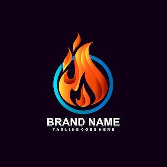 Concetto di design del logo con bruciatura di fuocostampa