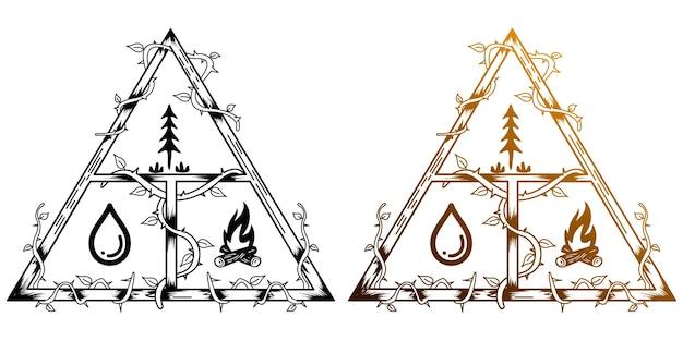 Fusto triangolo bianco fuoco camptreewater