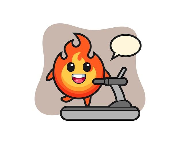 Personaggio dei cartoni animati di fuoco che cammina sul tapis roulant, design in stile carino per maglietta, adesivo, elemento logo
