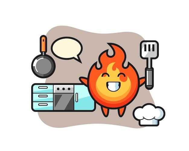 Illustrazione del personaggio di fuoco mentre uno chef sta cucinando, design in stile carino per maglietta, adesivo, elemento logo