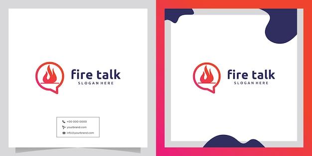 Bolla di chat di fuoco logo design