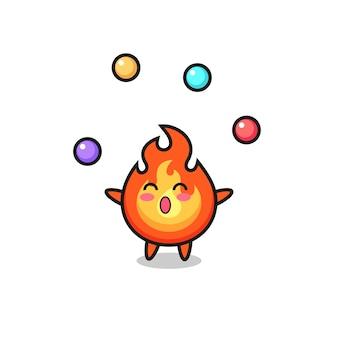 Il fumetto del circo del fuoco che gioca con una palla, un design in stile carino per maglietta, adesivo, elemento logo