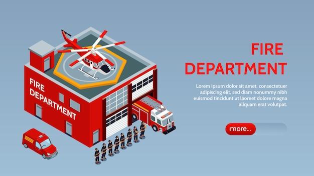 Insegna orizzontale dei vigili del fuoco con camion dei vigili del fuoco in garage helitack sul tetto dell'edificio e vigili dell'illustrazione isometrica