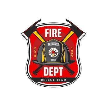 Icona dei vigili del fuoco con casco da pompiere o pompiere e asce incrociate, scala e gancio