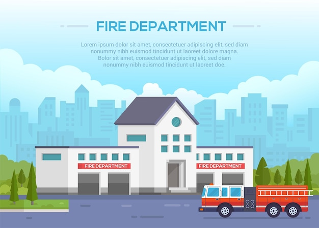 Vigili del fuoco - illustrazione vettoriale moderno con posto per il testo. fondo urbano. bel parco intorno. cielo azzurro con nuvole. autopompa antincendio con scala su strada