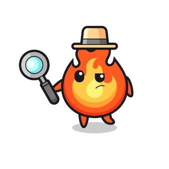 Il personaggio del detective del fuoco sta analizzando un caso, un design in stile carino per maglietta, adesivo, elemento logo