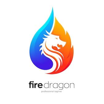 Modello logo drago di fuoco
