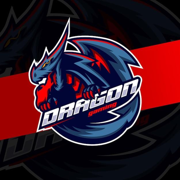 Personaggio mascotte drago di fuoco per il design del logo di gioco esport