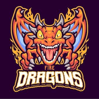 Modello di logo della mascotte del drago di fuoco