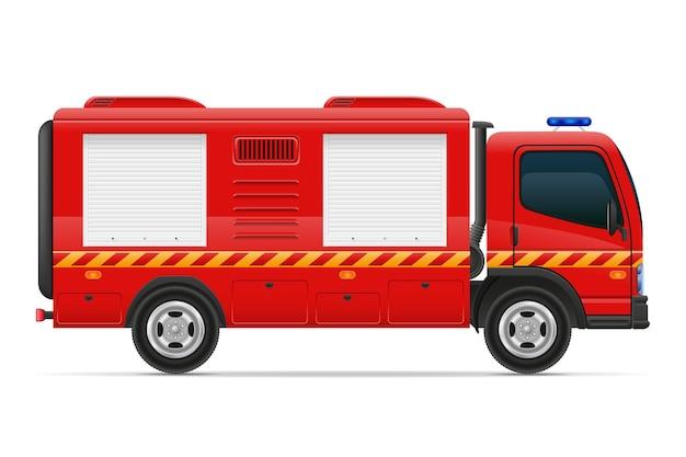 Illustrazione del veicolo dell'automobile dell'autopompa antincendio isolata su fondo bianco