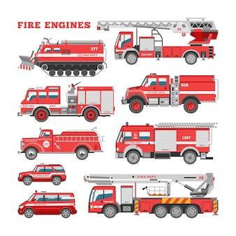 Veicolo di emergenza antincendio dell'autopompa antincendio o rosso camion dei pompieri con tubo flessibile e scala illustrazione set di pompieri auto o trasporto di autopompe antincendio su sfondo bianco