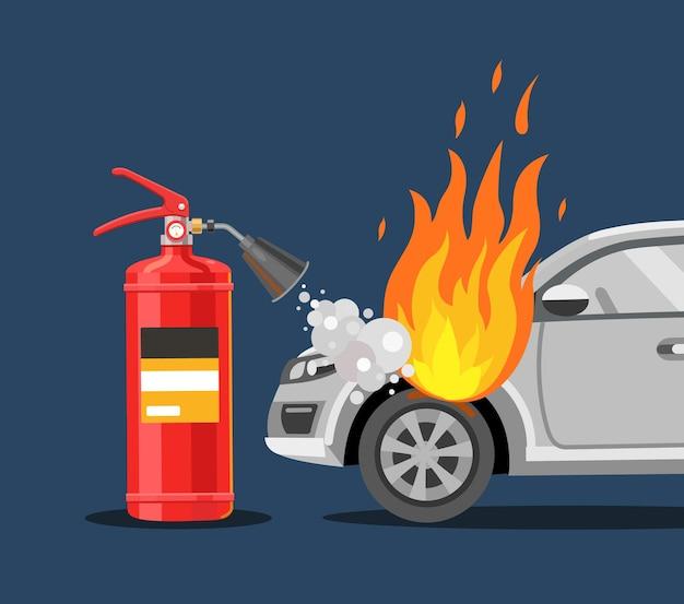 L'estintore spegne l'auto sicurezza antincendio illustrazione vettoriale piatta