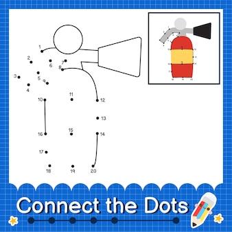 Estintori i bambini collegano il foglio di lavoro dei punti per i bambini che contano i numeri da 1 a 20