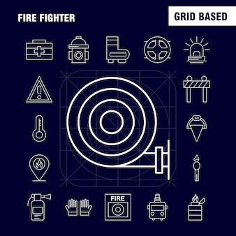 Fire fighter line icon per il web