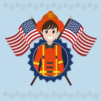 Vigile del fuoco sopra le bandiere degli sua attraversate