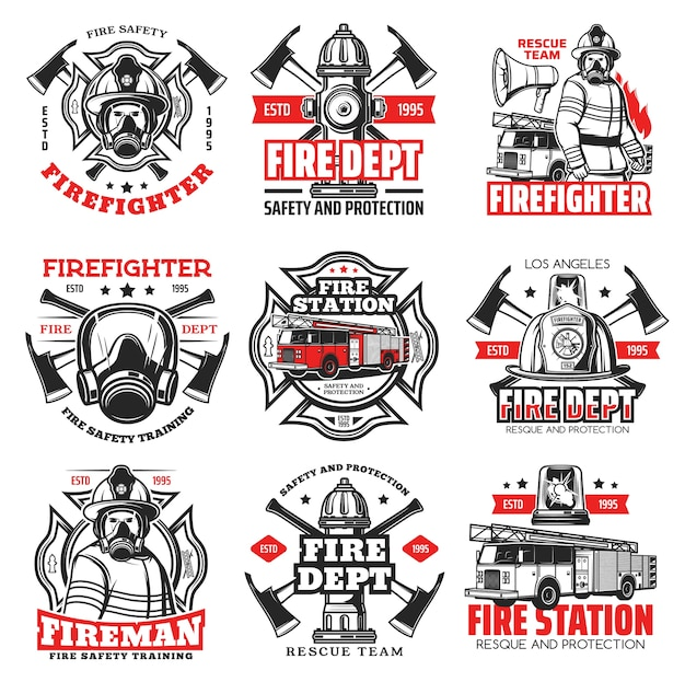 Icone di reparto vigili del fuoco e vigili del fuoco, casco da vigile del fuoco e distintivi di ascia emblemi della squadra di soccorso dei vigili del fuoco con idrante per l'acqua, cappello di sicurezza e scala per camion dei vigili del fuoco, segnali di emergenza antincendio