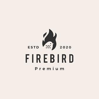 Illustrazione d'annata dell'icona di logo dei pantaloni a vita bassa dell'uccello della fiamma del fuoco