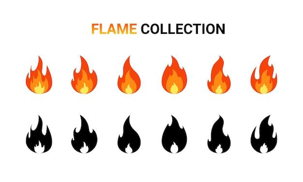 Insieme del fumetto della fiamma del fuoco.