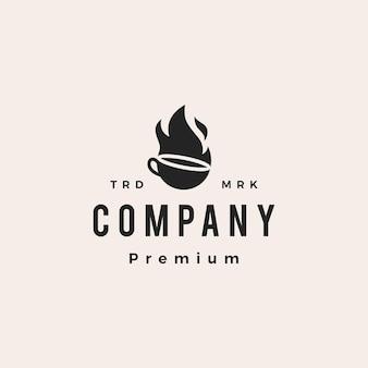Illustrazione dell'icona di vettore del logo vintage dei pantaloni a vita bassa del caffè caldo della fiamma del fuoco
