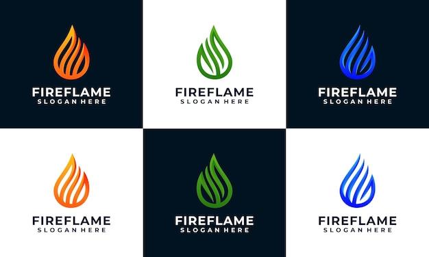 Modello di progettazione logo fuoco e fiamma con collezione multi colori