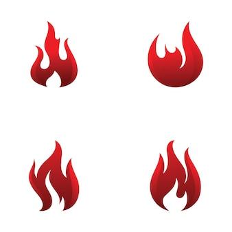 Fiamma di fuoco logo design template vettoriale