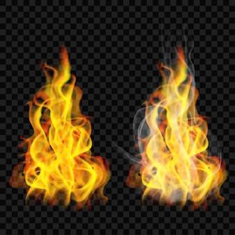Fiamma di fuoco con fumo e senza su trasparente.