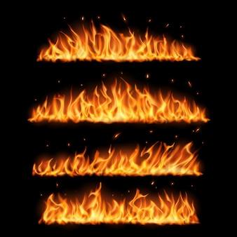 Fiamme di fuoco su sfondo nero design realistico.