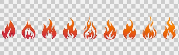 Fiamme di fuoco. insieme dell'icona del fuoco. simboli del fuoco. illustrazione vettoriale.