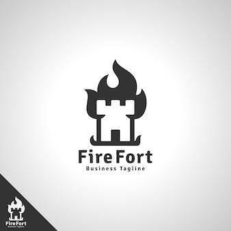 # fire fort logo con il concetto di fortezza in fiamme
