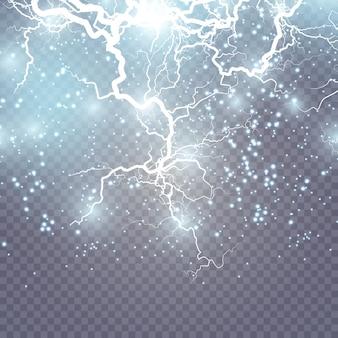 Fulmine frattale di ghiaccio e fuoco, illustrazione di sfondo potenza al plasma