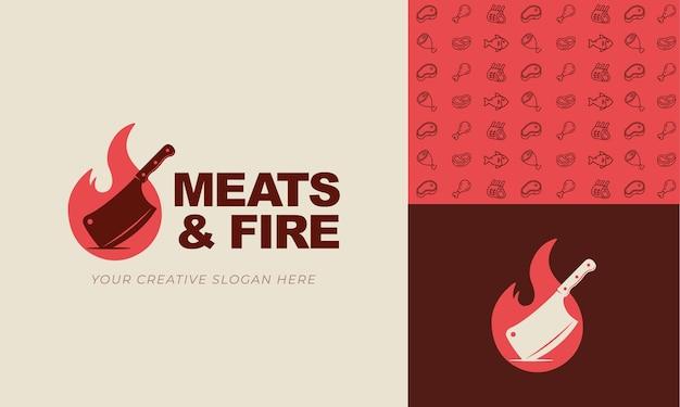 Modello logo fuoco e coltello per ristorante steakhouse