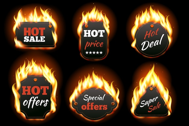 Set di etichette di fuoco.
