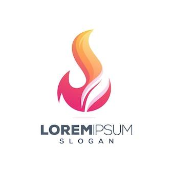 Foglia di fuoco colorato logo design