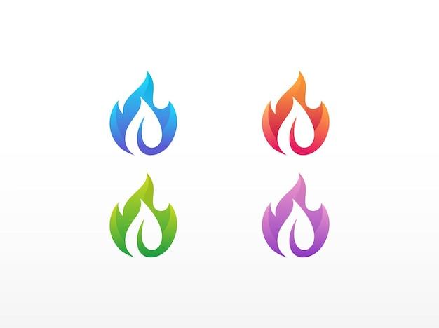 Modello di progettazione del logo di fuoco e foglia